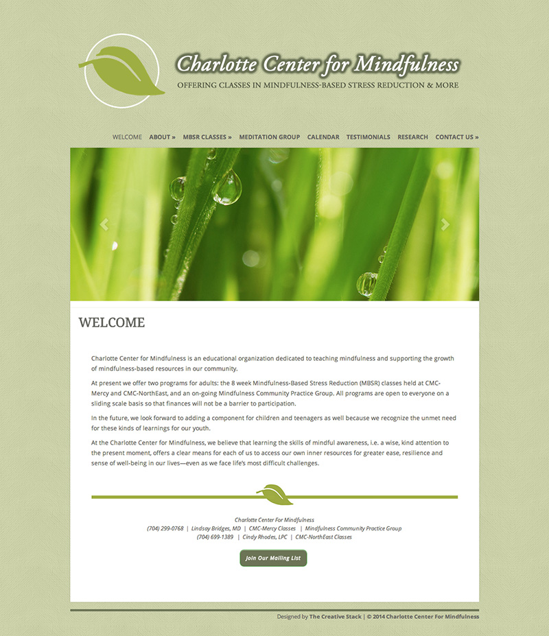 Charlotte Center For Mindfulness Website Design